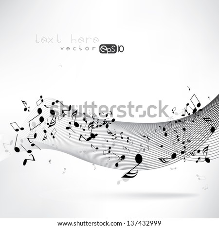 abstract musical background with notes - stock vector