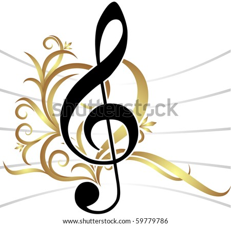 Abstract musical background with treble clef. - stock vector
