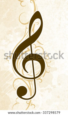 Abstract musical background with treble clef in light tones.  - stock vector