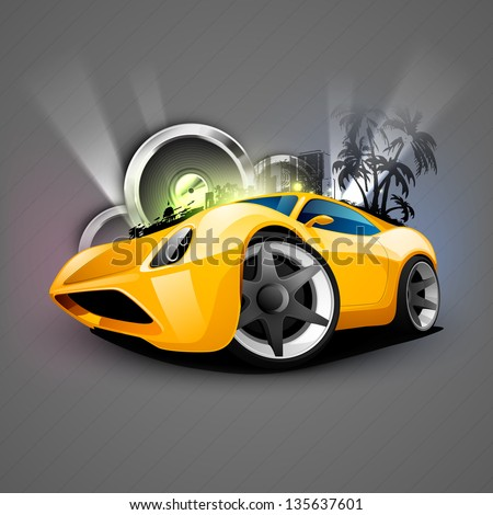 Abstract Musical Car with speakers. - stock vector