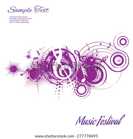 abstract musical composition on a white background with space for text, vector illustration - stock vector
