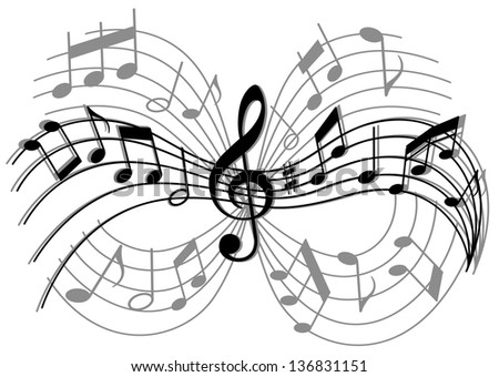 Abstract musical composition with music elements and notes. Jpeg (bitmap) version also available in gallery - stock vector