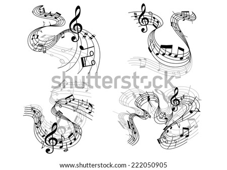 Abstract musical compositions depicting swirling staffs with clefs and music notes - stock vector