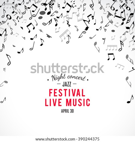 Abstract musical concert flyer with black notes on white background. Vector Illustration for music design. Modern pop  concept art melody banner. Sound key decoration with music symbol sign. - stock vector