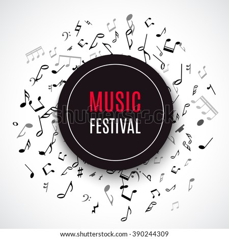 Abstract musical concert flyer with black notes. Vector illustration for disco design. Music concert concept. Melody frame decoration. Tune border template. Music festival brochure, flyer, poster.