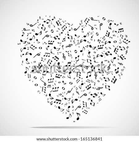 Abstract musical heart background - stock vector