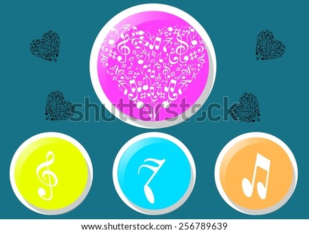 Abstract musical heart icon and background. - stock vector