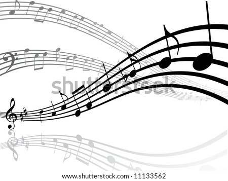 Abstract musical lines with notes. Vector illustration - stock vector