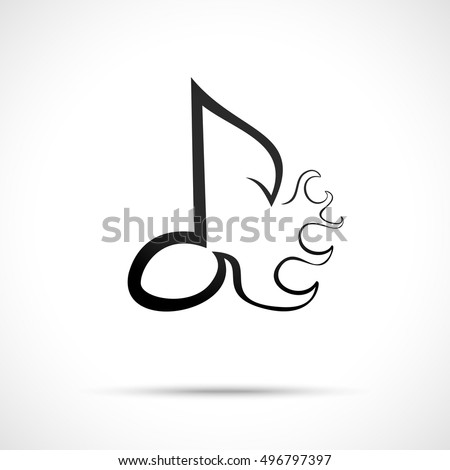 Abstract Musical Logo Design Template Fire Stock Vector 496797397