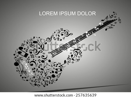 Abstract musical note guitar background.melody rock concept. - stock vector