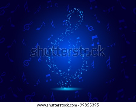 Abstract musical notes or wave background in blue color. EPS 10, can be use as flyer, banner or poster for disco parties and other events. - stock vector