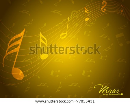 Abstract musical notes or wave background in yellow color. EPS 10, can be use as flyer, banner or poster for disco parties and other events. - stock vector