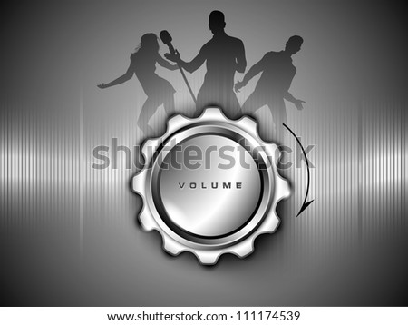 Abstract musical parties or events banner, poster or background with volume button. EPS 10. - stock vector