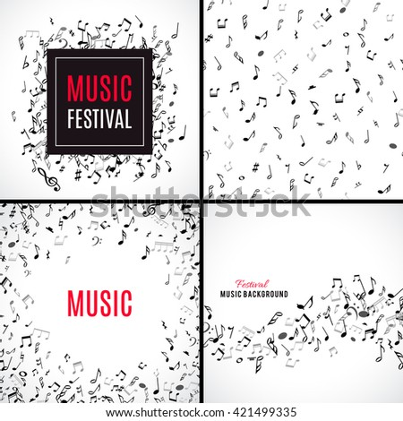 Abstract musical patterns with black notes on white background. Set vector Illustration for music design. Modern pop  collection concept art melody banner. Sound key decoration with music symbol sign. - stock vector
