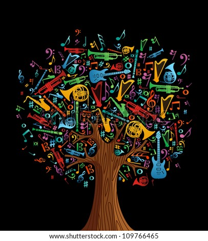 Abstract musical tree made with instruments shapes illustration. Vector file layered for easy manipulation and custom coloring. - stock vector