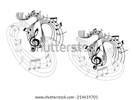 Abstract musical waves melody compositions with treble clef, musical notes and wave lines isolated on white background. Can use for art, opera, pop or jazz design  - stock vector