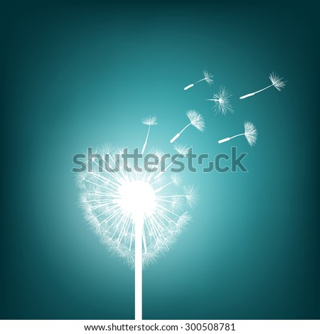 Abstract natural background. Glowing dandelion in the form of heart. Stock Vector. - stock vector