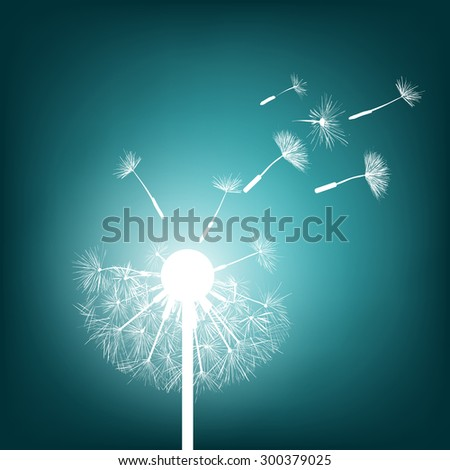 Abstract natural background. Glowing dandelion. Stock Vector. - stock vector