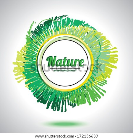 Abstract natural circle element - Green smudge whirlpool - Flat design - Web Banners - stock vector