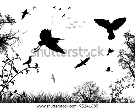 Abstract nature background with birds and trees, in black and white, vector illustration - stock vector