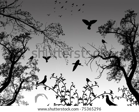 Abstract nature background with birds and trees, vector illustration - stock vector
