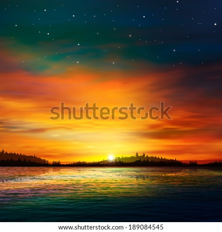 abstract nature background with forest lake and red sunrise - stock vector