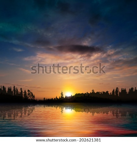 abstract nature background with forest lake dark clouds and sunset - stock vector