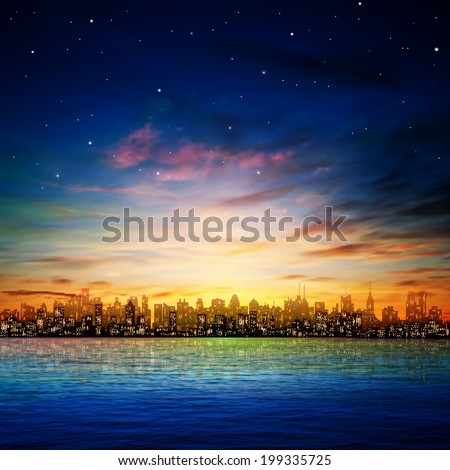 abstract nature background with panorama of city and sunset - stock vector
