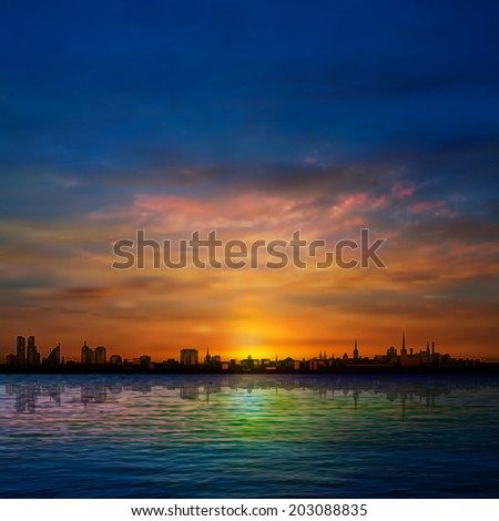 abstract nature background with panorama of city clouds and golden sunrise - stock vector