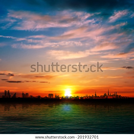 abstract nature background with panorama of city clouds and red sunset - stock vector