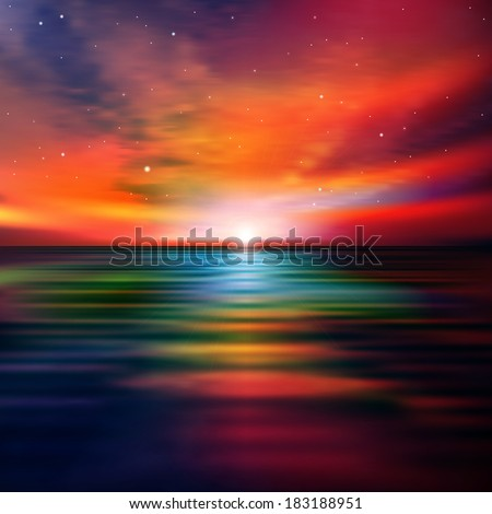abstract nature background with red sea sunset and clouds - stock vector