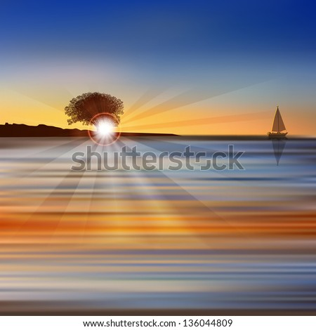 Abstract nature background with sea sunrise yacht and tree - stock vector