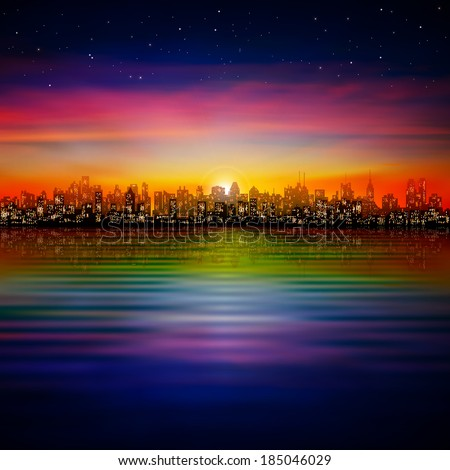 abstract nature background with silhouette of new york and pink sunset - stock vector