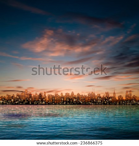 abstract nature blue background with panorama of city and brown clouds - stock vector