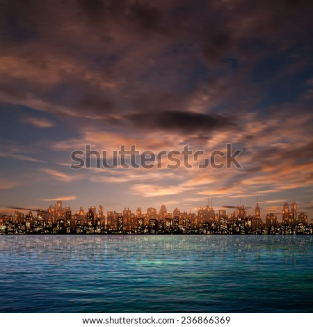abstract nature brown sky background with panorama of city and clouds - stock vector