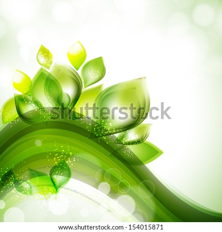 Abstract nature concept with green leafs on wave background.  - stock vector