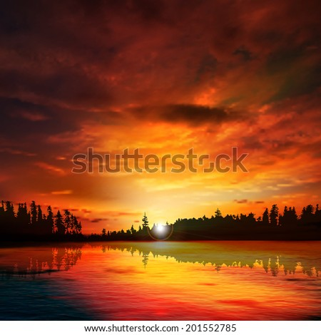 abstract nature dark background with forest lake red sunset and clouds - stock vector