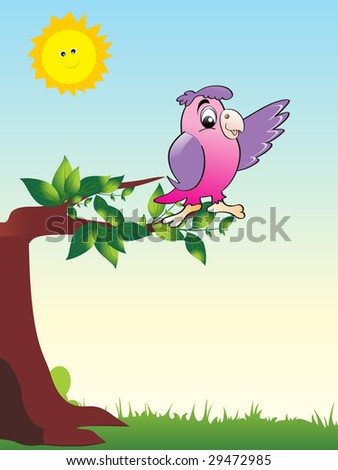 abstract nature pattern background with parrot sitting on branch, vector wallpaper - stock vector