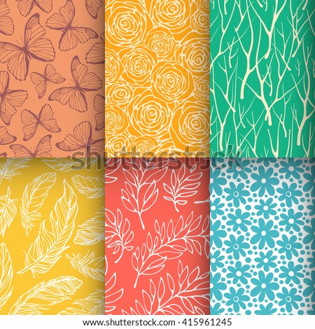 Abstract nature seamless pattern set. Butterfly, branches, feathers, flowers textures collection. Vector illustration - stock vector