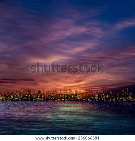 abstract nature sky background with panorama of city and clouds - stock vector