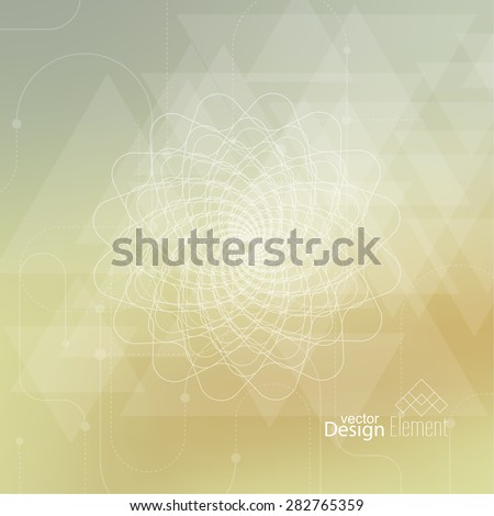 Abstract neat Blurred Background with lines and dots, triangles. Glowing mandala spiral. Chakra. Self-knowledge in meditation. sacred soul. Higher cosmic mind - stock vector