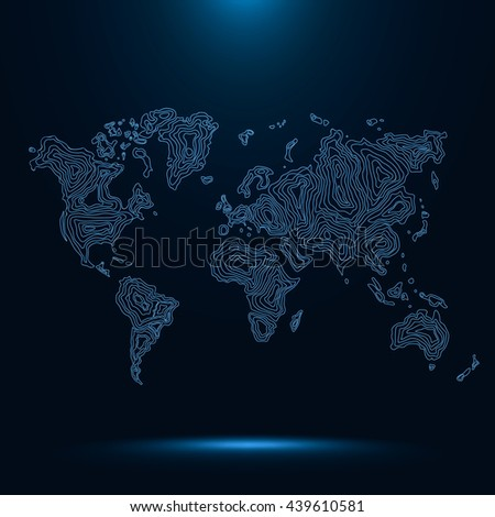 Abstract neon sci fi world map consist of wavy lines . Vector earth map . Decorative continents . Network connection . - stock vector