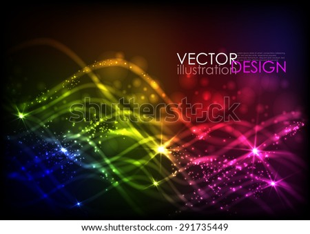 Abstract Neon Waves. Vector Illustration. Eps 10 - stock vector