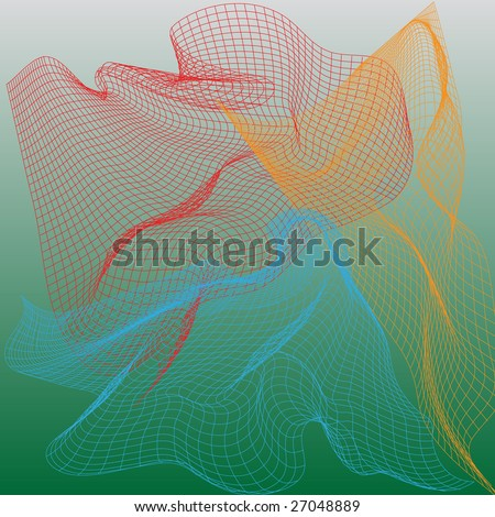 Abstract nets, vector illustration on green background - stock vector