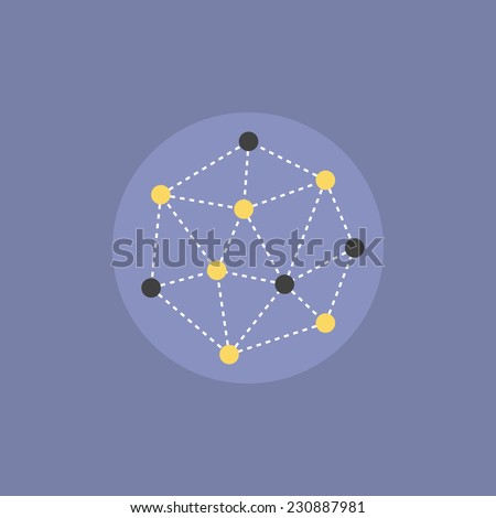 Abstract network connection structure, digital technology communication polygon cube, geometric shape with nodes. Flat icon modern design style vector illustration concept. - stock vector