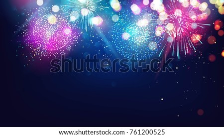 Abstract new year background with colorful fireworks and christmas lights. Vector festive illustration