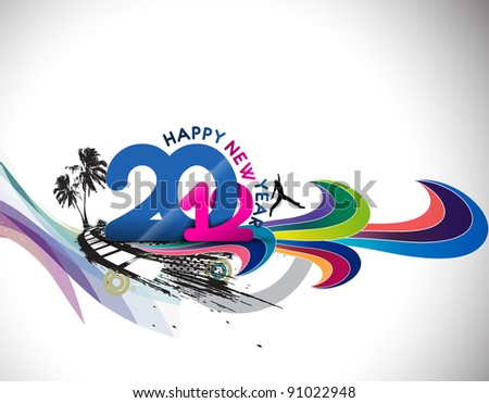 abstract new year 2012 urban background. - stock vector