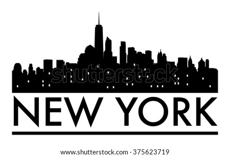 Abstract New York skyline, with various landmarks, vector illustration - stock vector