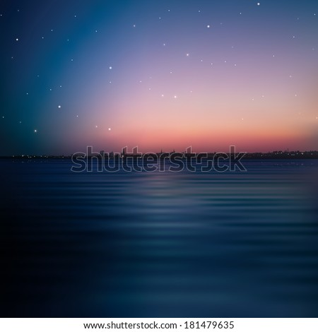 abstract night background with silhouette of city - stock vector