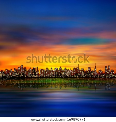 abstract night background with silhouette of city and golden sunset - stock vector